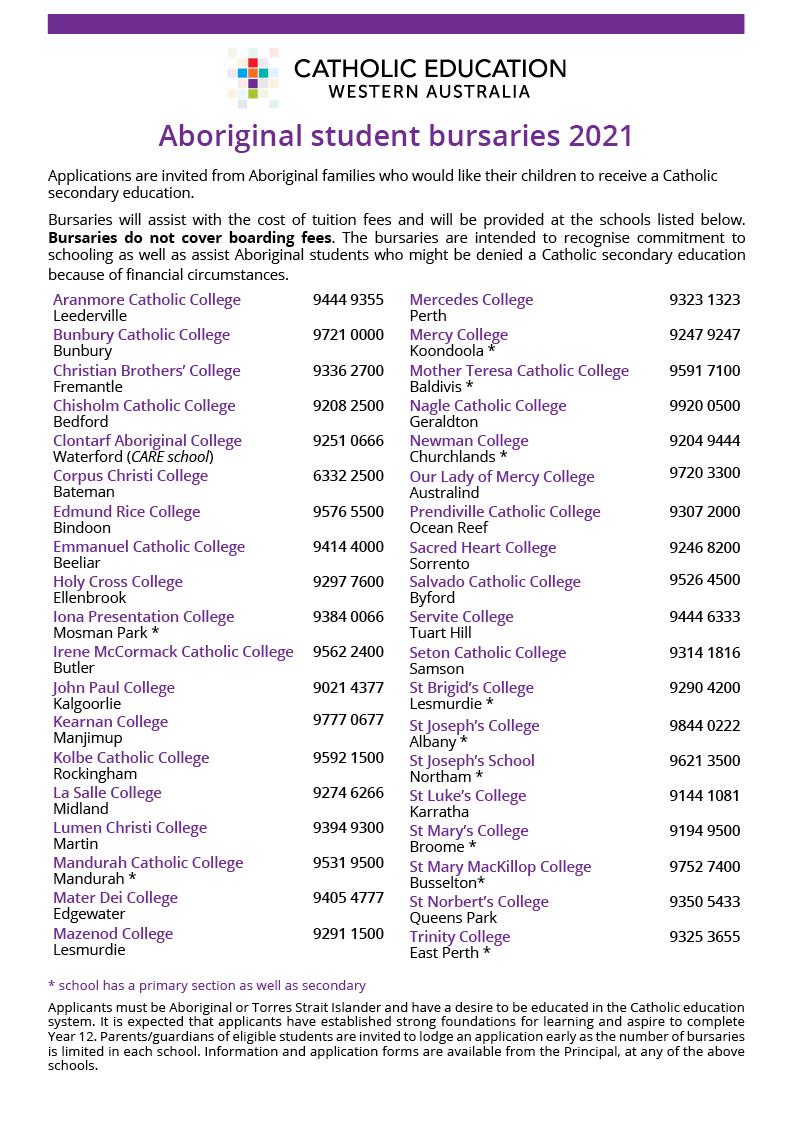 Three more schools offering Aboriginal student bursaries for 2021